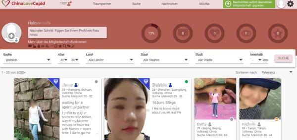 Der Mitgliederbereich auf ChinaLoveCupid.com