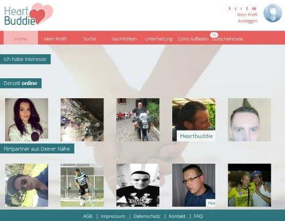 Der Mitgliederbereich von HeartBuddie.de