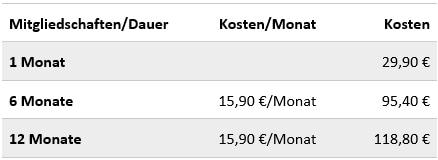 Rhein-liebe.de - Kosten