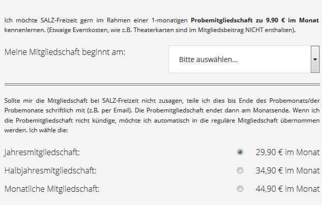 SALZ-FREIZEIT - Preise