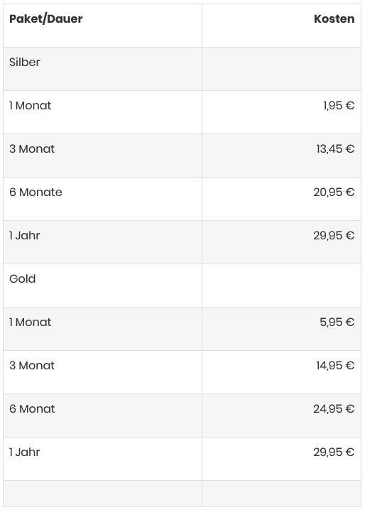 SaarSex.de - Kosten