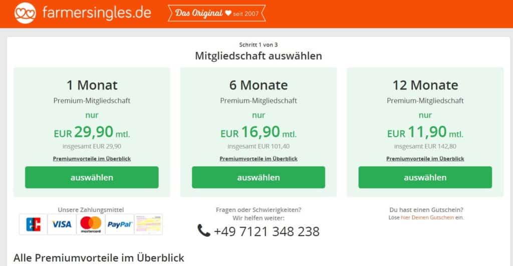 farmersingles.de - Kosten