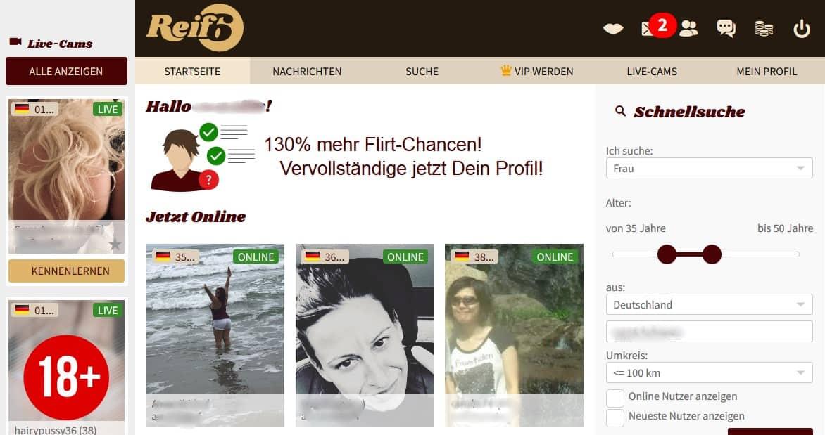 Der Mitgliederbereich auf Reif6.de