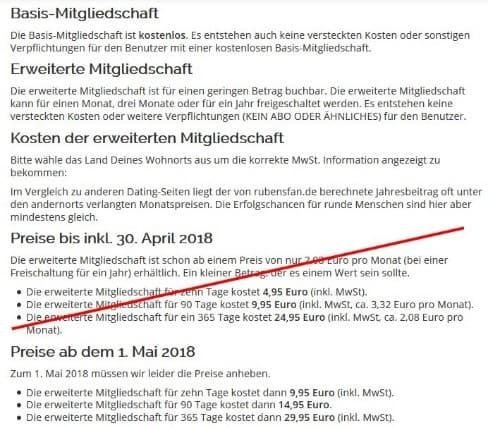 rubensfan.de - Kosten