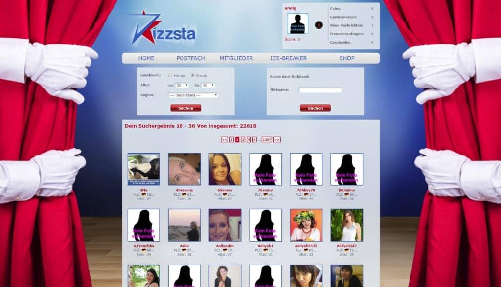 Kizzsta.de Mitgliederbereich