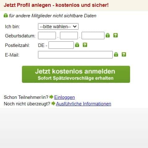 spaetzlesuche.de - Anmeldung