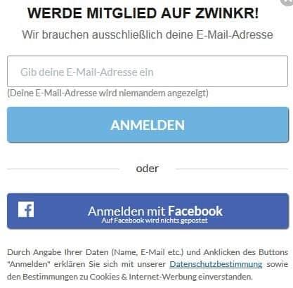zwinkr.de - Anmeldung