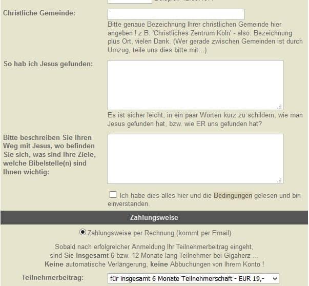 Anmeldung bei Gigaherz.net