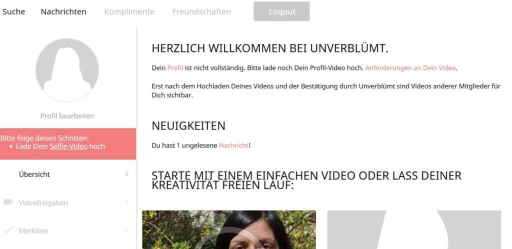 Anmeldung bei Unverbluemt.de
