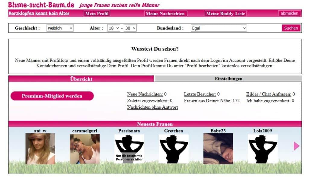 Blume-sucht-Baum.de - Mitgliederbereich