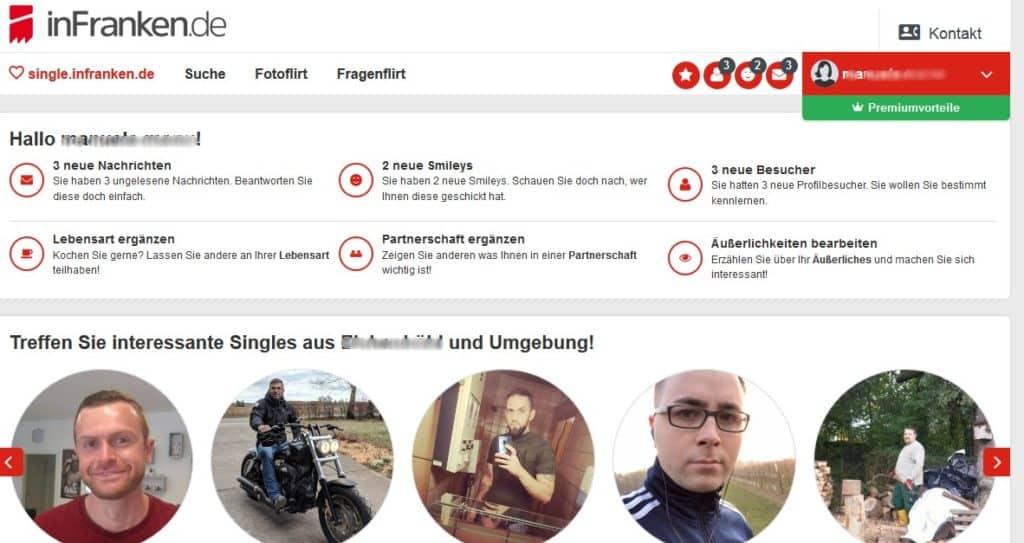 Der Mitgliederbereich auf Single.infranken.de