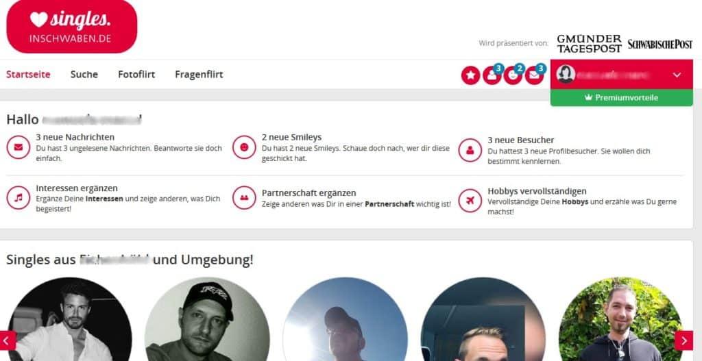 Der Mitgliederbereich auf Singles.inSchwaben.de