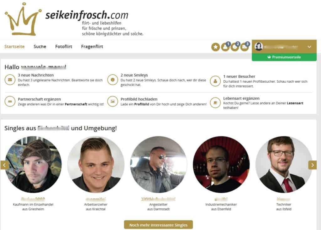 Der Mitgliederbereich von Seikeinfrosch.de