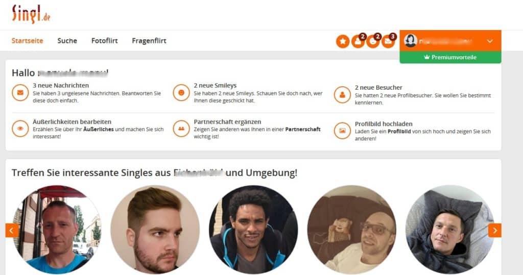 Der Mitgliederbereich von Singl.de