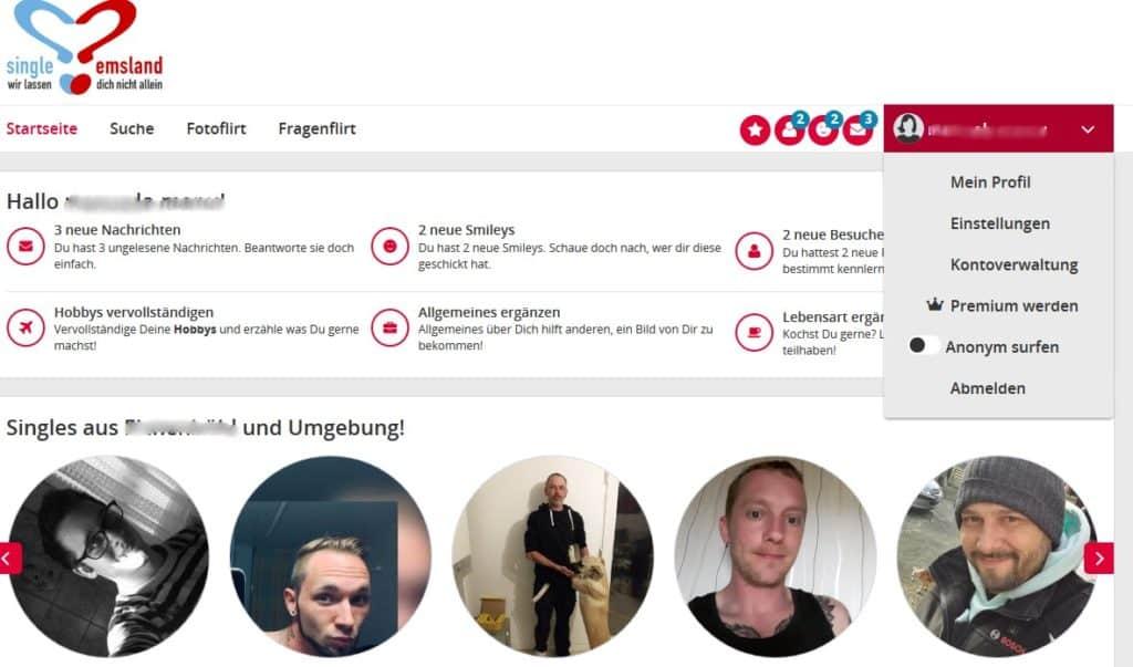 Der Mitgliederbereich von Single-emsland.de