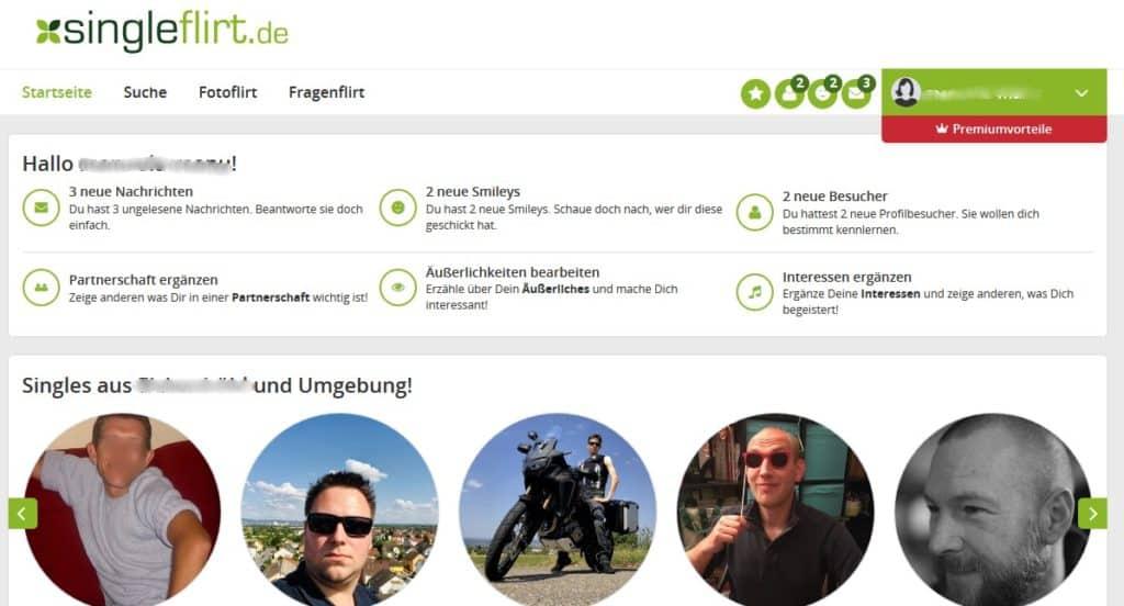 Der Mitgliederbereich von Singleflirt.de