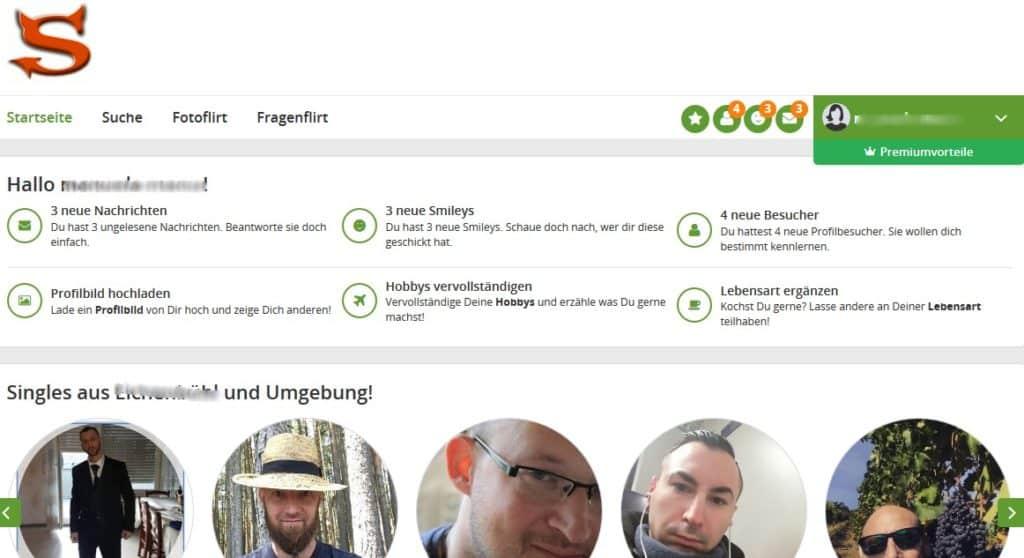 Der Mitgliederbereich von Singles.Sangrio.de