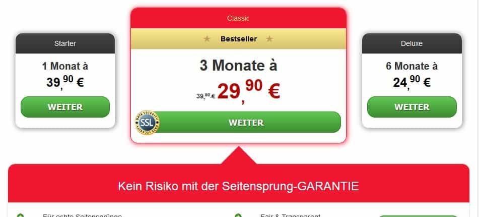 Die Preise auf HeisseFlirts.online