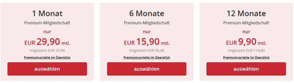 Die Preise auf Singleflirt.de