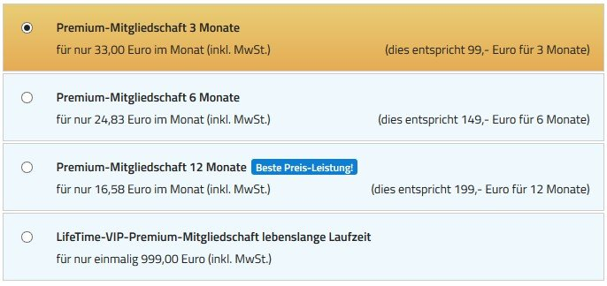 Die Preise auf Singles-4You.de