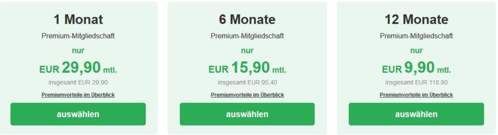 Die Preise für eine Premiummitgliedschaft auf Singles.inSchwaben.de