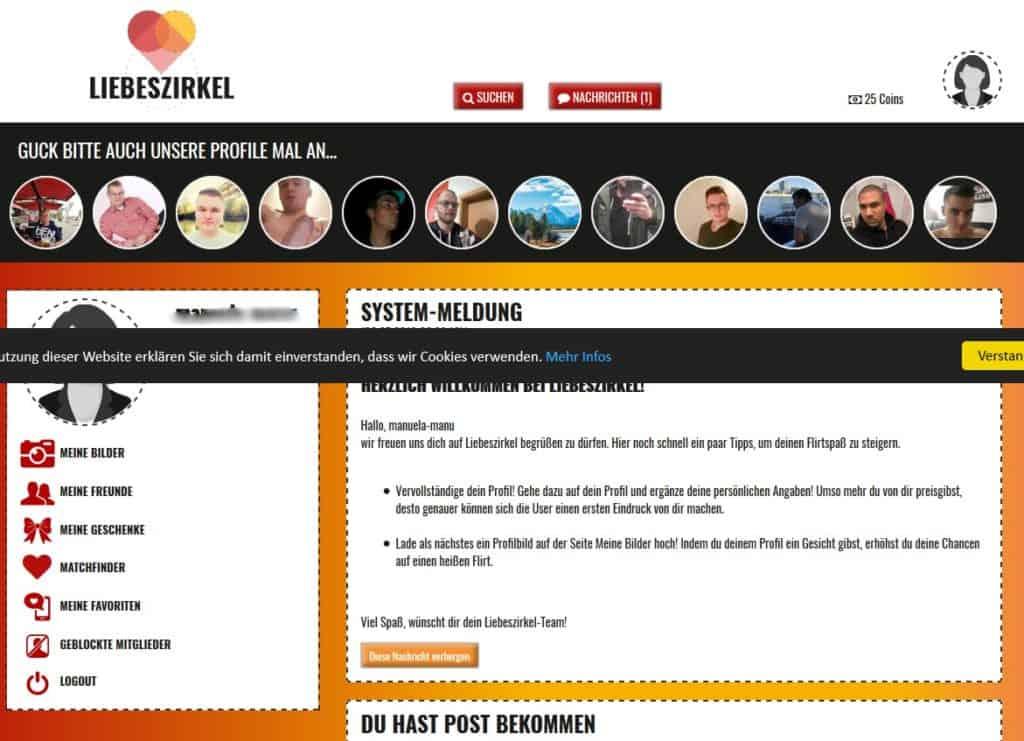 Liebeszirkel.net - Mitgliederbereich
