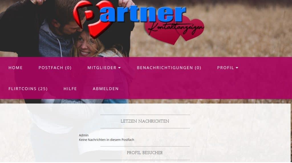Mitgliederbereich auf Partner-kontaktanzeigen.de
