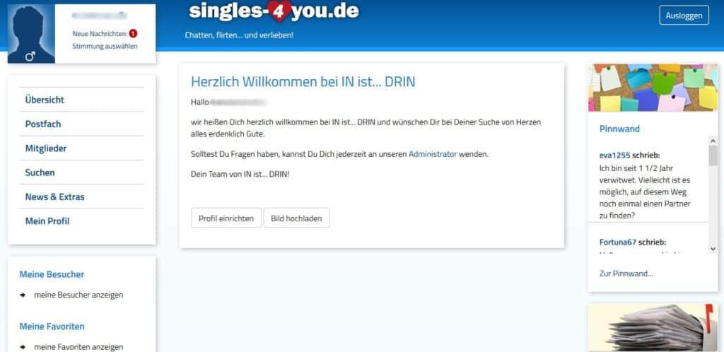 Mitgliederbereich auf Singles-4You.de