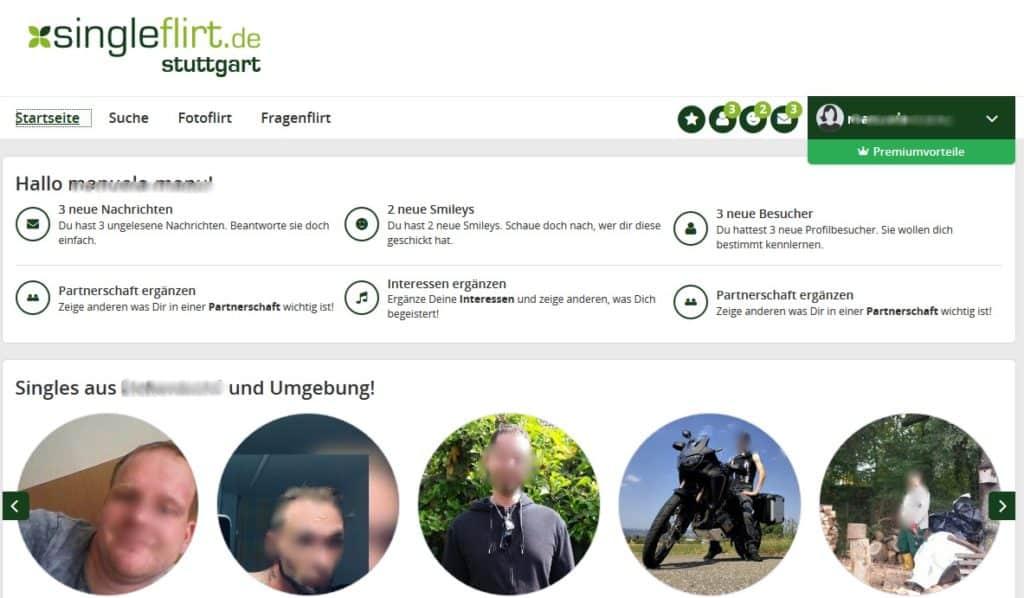 Mitgliederbereich von Single-in-stuttgart.de