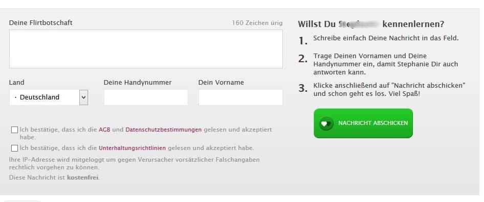 Nachrichten versenden auf Partnersuche-SMS.de