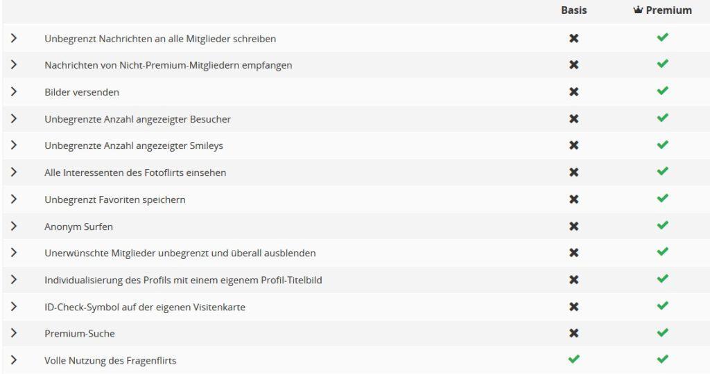 Vorteile als Premium Mitglied auf Singl.de