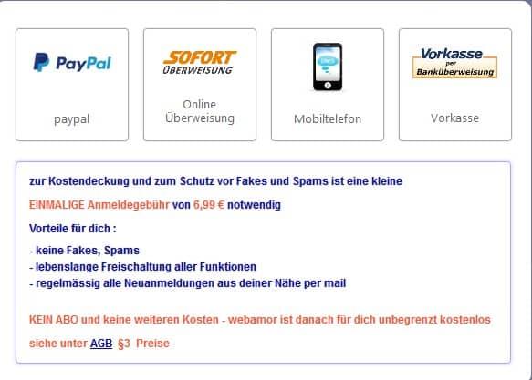 Zahlungsmöglichkeiten auf Web-Amor.de