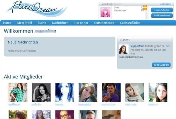 flirtozean.com - Mitgliederbereich