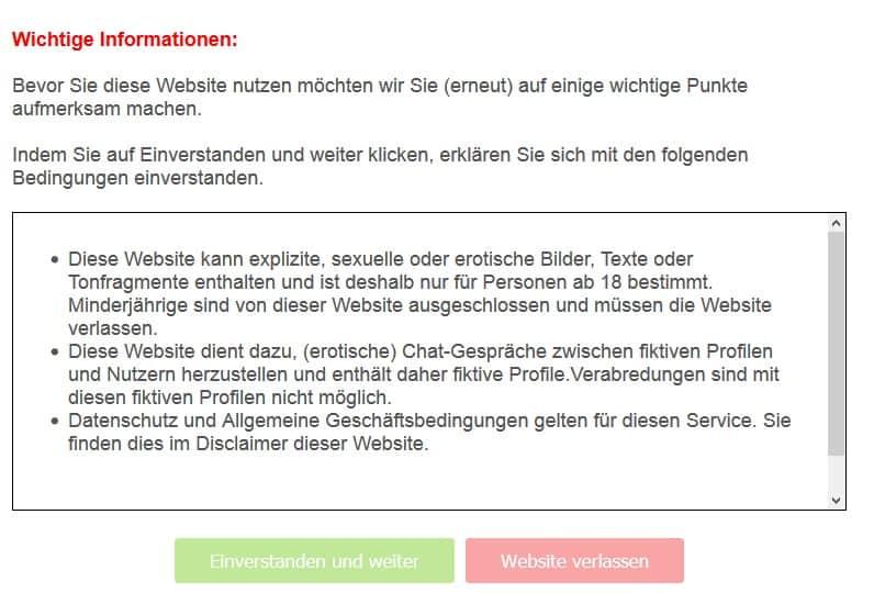 Warnhinweis beim Aufruf der Webseite GeheimerKontakt.net