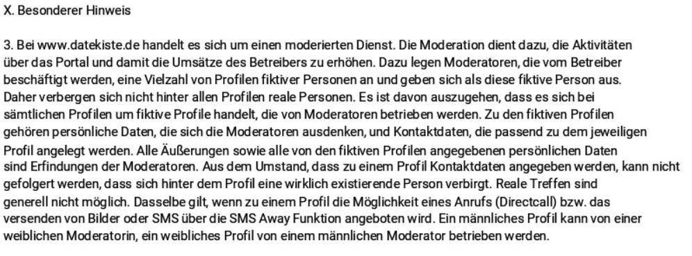DateKiste.com - AGB Moderatoren