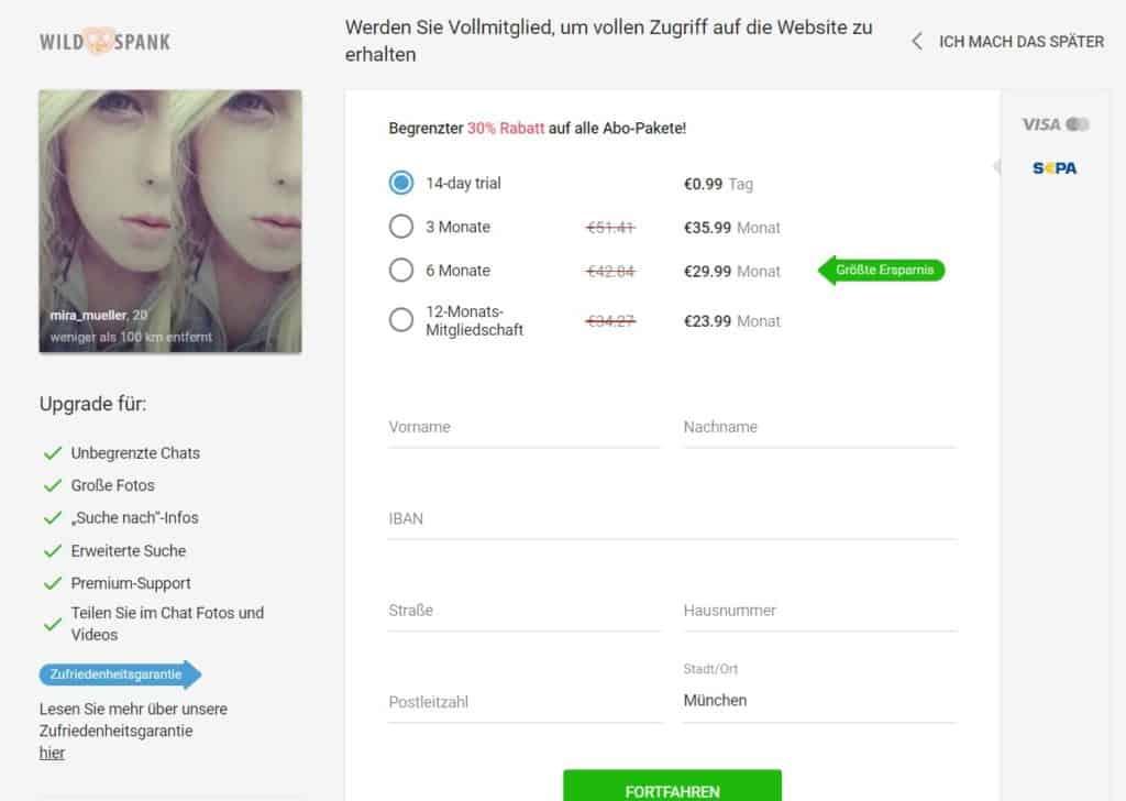 WildSpank.com - Kosten