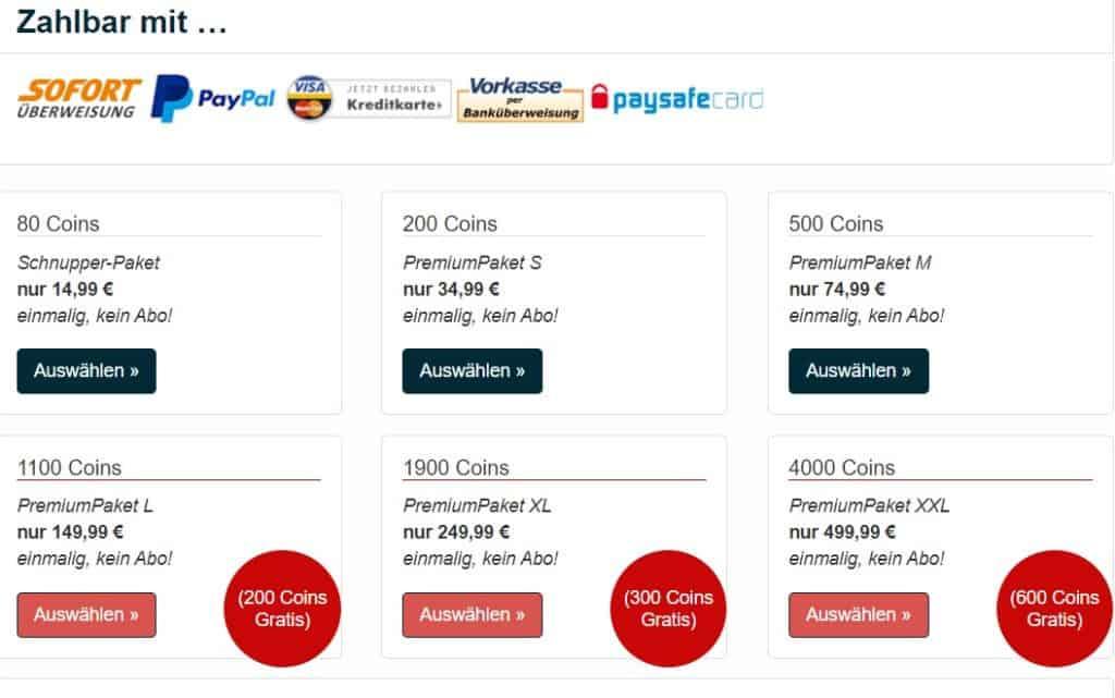 geheimertreff.com - Kosten Coins