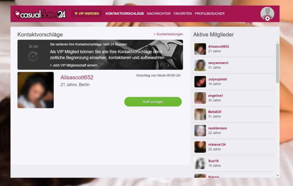 Testbericht - casualdates24.com Mitgliederbereich