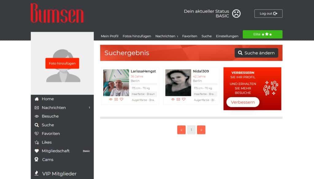 Testbericht - bumsen.com Mitgliederbereich