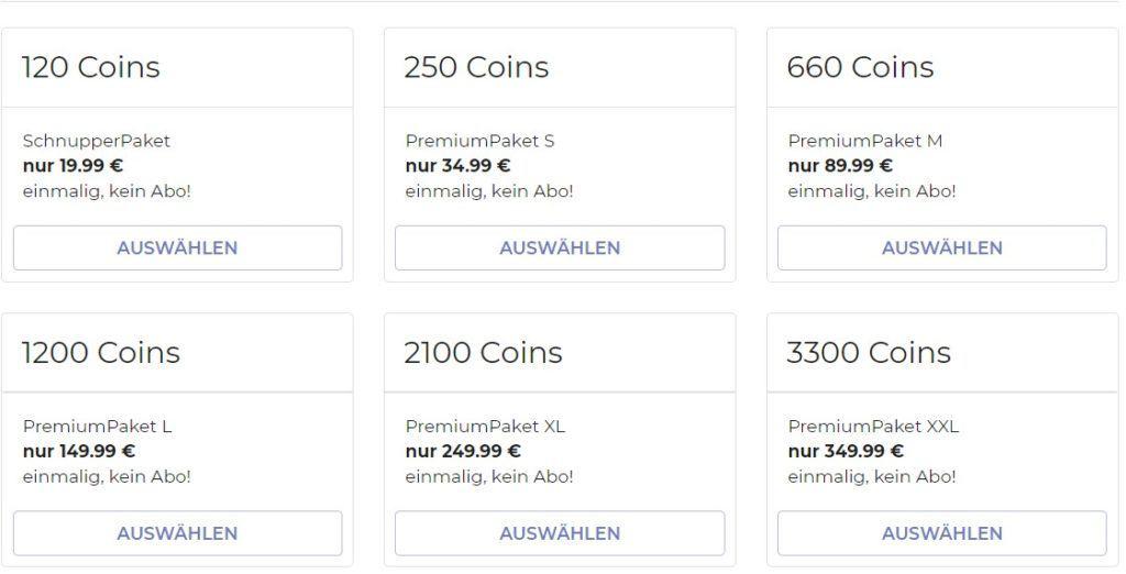 flirtdart.com - Kosten Coins