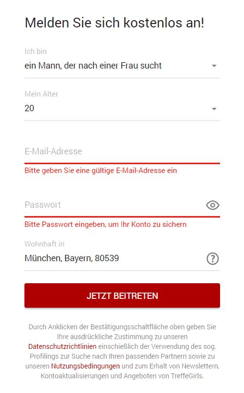 treffegirls.com - Anmeldung