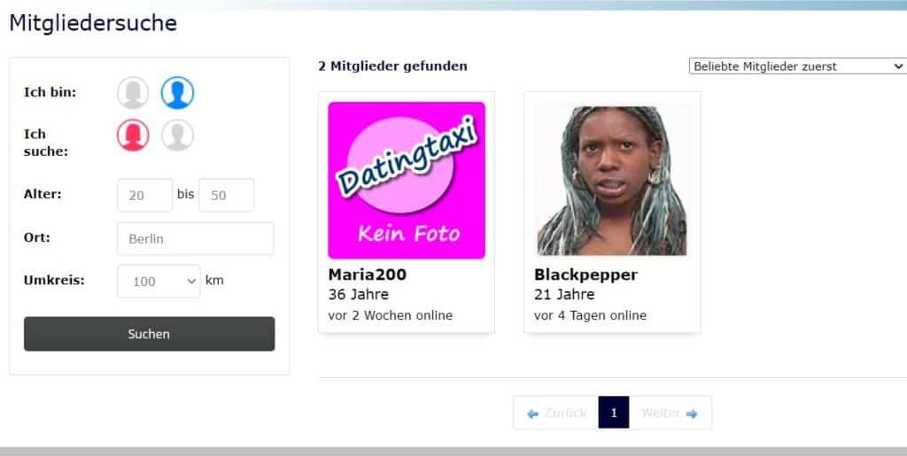 datingtaxi.com - Mitgliederbereich