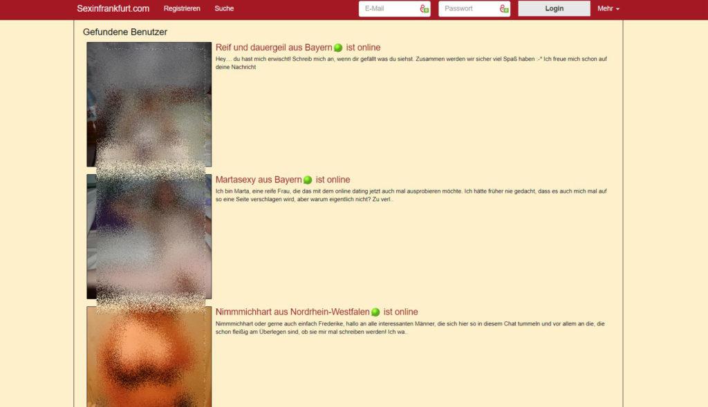 Testbericht - sexinfrankfurt.com Mitgliederbereich