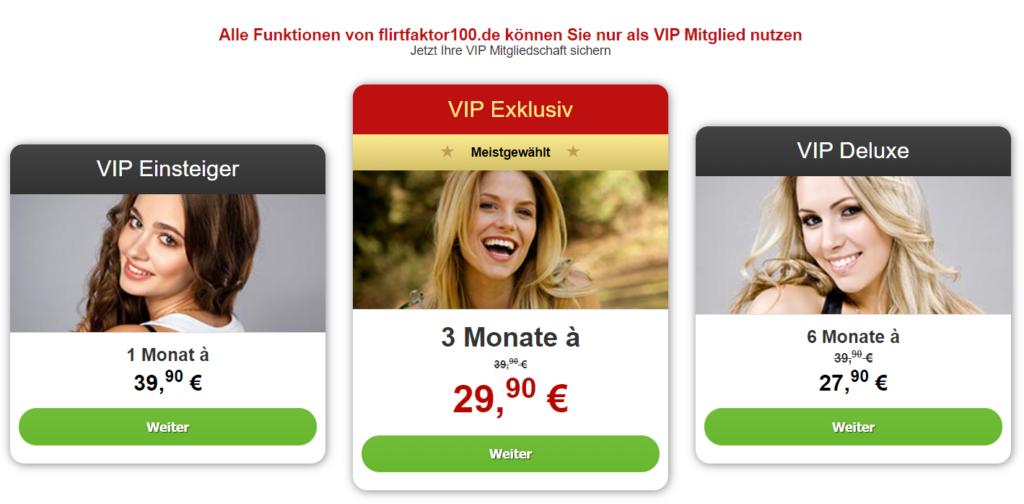 FlirtFaktor100.de - Kosten