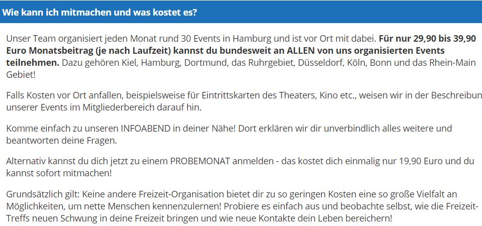 Freizeit-Treff.com - Kosten