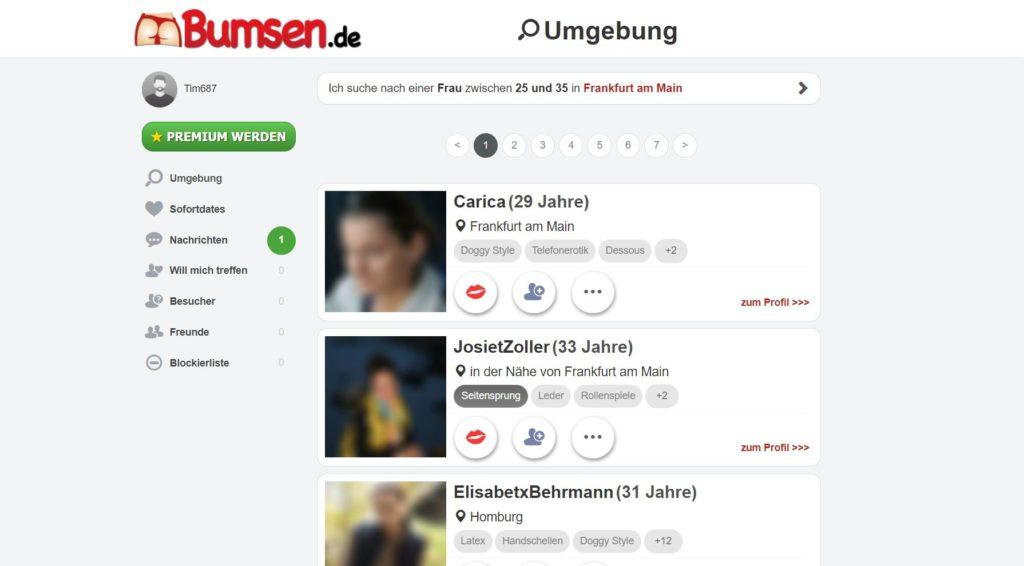 Testbericht bumsen.de Mitgliederbereich