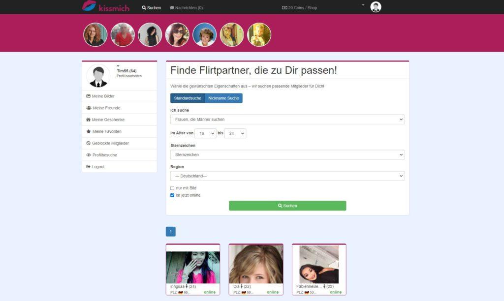 Testbericht - kissmich.de Mitgliederbereich