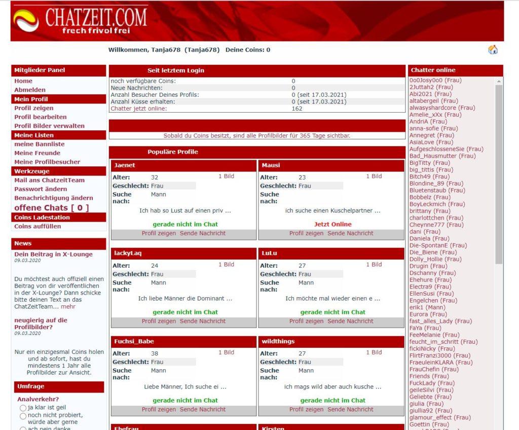 Testbericht - chatzeit.com Mitgliederbereich