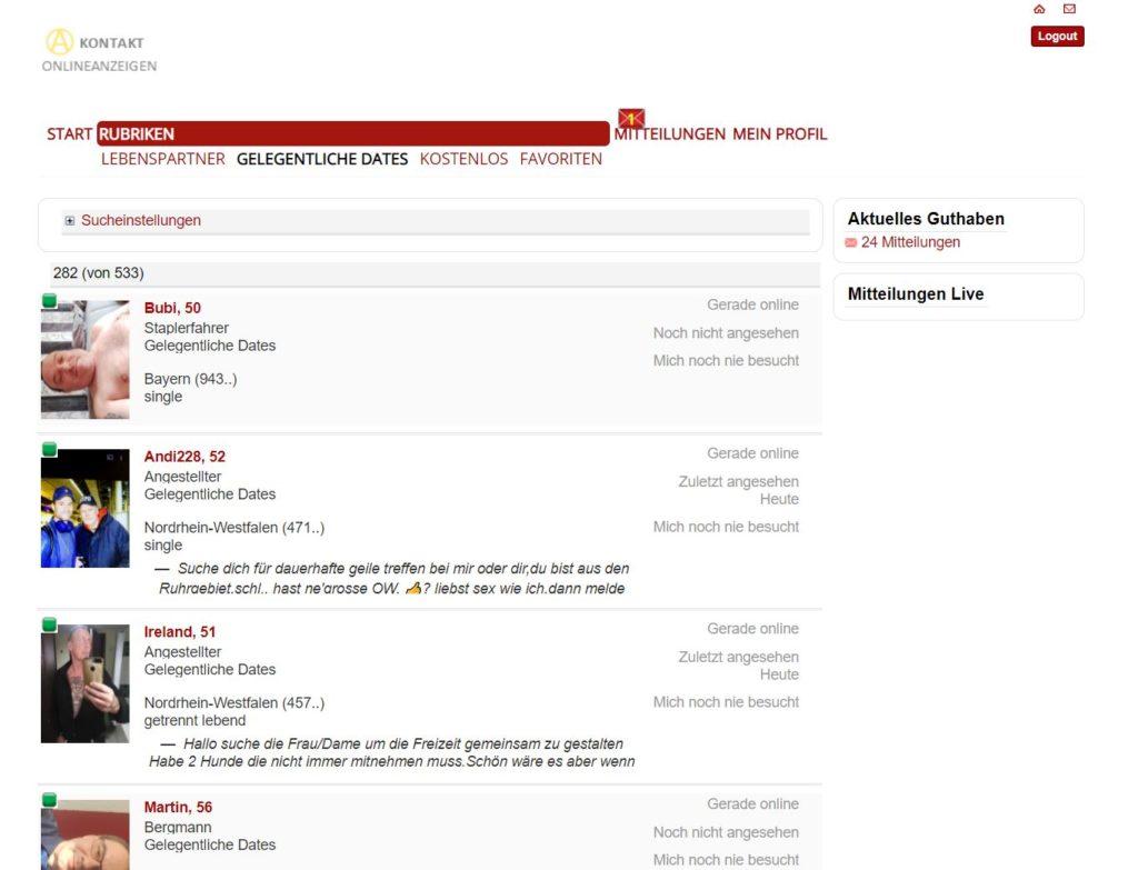 Testbericht - kontakt-onlineanzeigen.com Mitgliederbereich