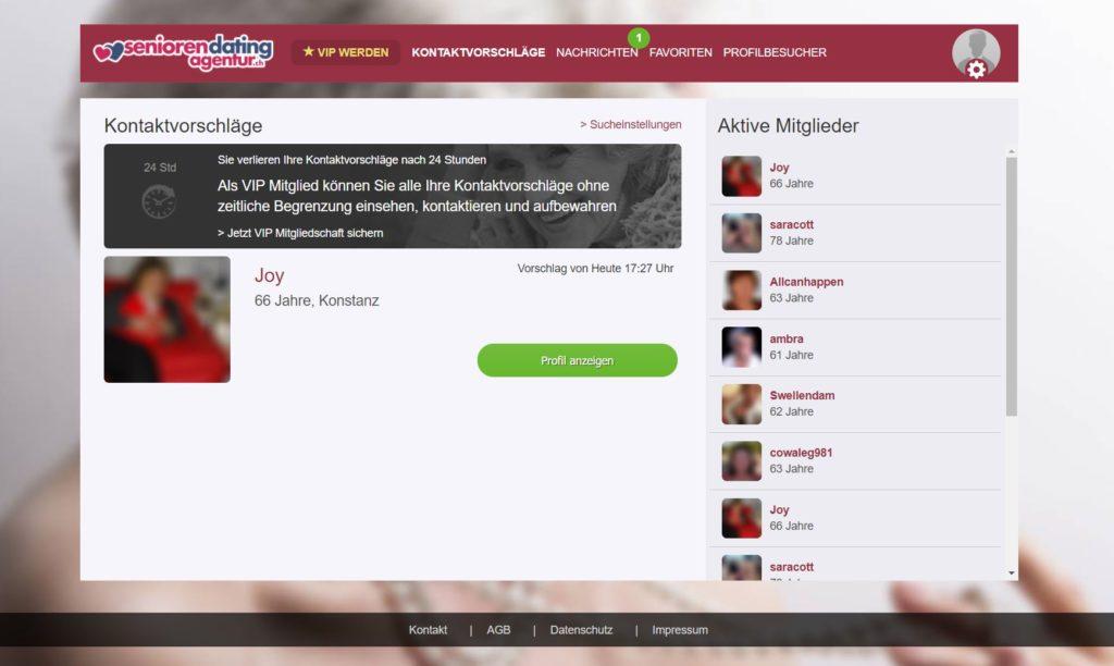 Testbericht - seniorendatingagentur.ch Mitgliederbereich